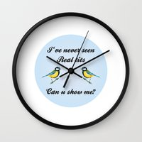 tits Wall Clocks featuring About Tits by Pavlito