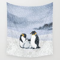 penguins Wall Tapestries featuring Penguins by Alibabaform