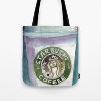 starbucks Tote Bags featuring Starbucks by Dorrie Rifkin Watercolors