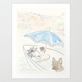 Sweet French Bulldog Santorini Romance Art Print