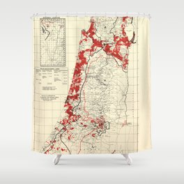Map of Palestine Index to Villages & Settlements 1940's Shower Curtain