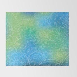 transparent white zen pattern blue gradient Throw Blanket