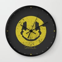 sia Wall Clocks featuring Music Smile by Sitchko Igor