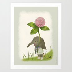 Little Elephant and the Dandyflower Art Print