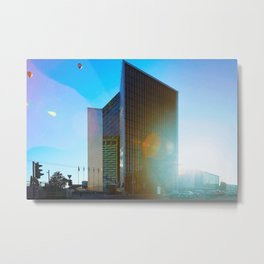 Air balloons and architecture of modern steel and glass skyscraper Metal Print