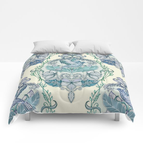 Not Even a Sparrow - hand drawn vintage bird illustration pattern Comforters