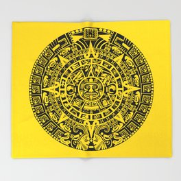 Mayan Calendar // Yellow Throw Blanket