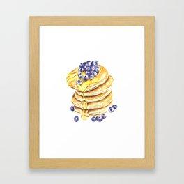 Pancake Stack Watercolor Painting Framed Art Print