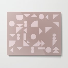 Floating Shapes in Mauve Metal Print