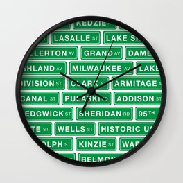 Famous Chicago Streets // Chicago Street Signs Wall Clock