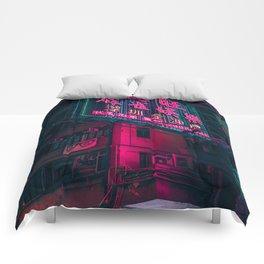 Tokyo Neon Lights Comforters