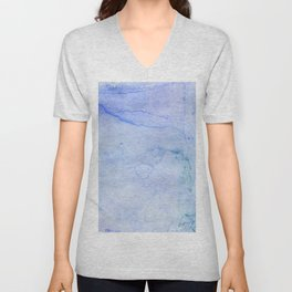 Hand painted blue green abstract watercolor pattern Unisex V-Neck