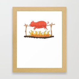 Let's Pig Out Pigs Animal Barbecue BBQ Grill Master Design Framed Art Print