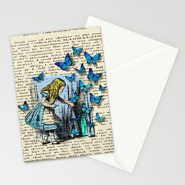 The Key To Wonderland - Alice in Wonderland on A Vintage Textbook Stationery Cards
