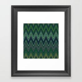 Dark green zigzag Framed Art Print