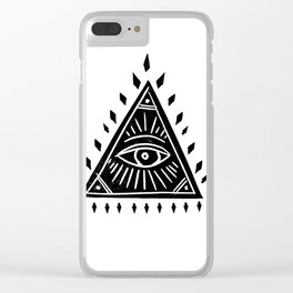 Linocut Pyramid eye black and white symbology Clear iPhone Case