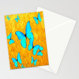 Gorgeous Gold Patterned Turquoise Butterflies Art Stationery Cards
