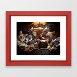Cats play poker Framed Art Print