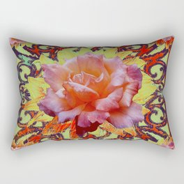 Floral Roses Rustic Cream-Brown  Abstract Pattern Rectangular Pillow