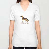 german shepherd V-neck T-shirts featuring German Shepherd by 52 Dogs