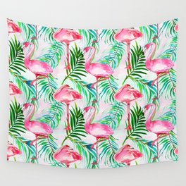 Pink forest green tropical flamingo watercolor floral Wall Tapestry