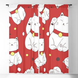 Seamless pattern with Maneki-Neko cat hand drawn icons. Doodle background vintage. Set of japanese symbols of good luck and prosperity. Sketch illustration, lucky cats Blackout Curtain