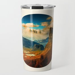 Orange Cliff Blue Sky Travel Mug
