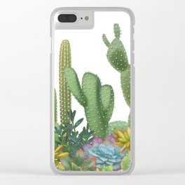 Milagritos Cacti on white background. Clear iPhone Case