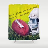football Shower Curtains featuring Football by A Calcines