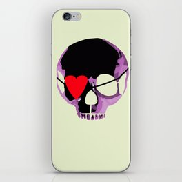 Pink skull with heart eyepatch iPhone Skin