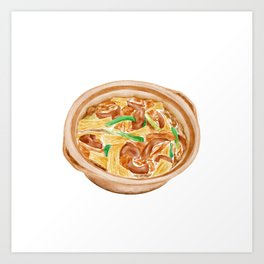 Watercolor Illustration of Chinese Cuisine - Dry tofu lamb clay pot | 支竹羊腩煲 Art Print