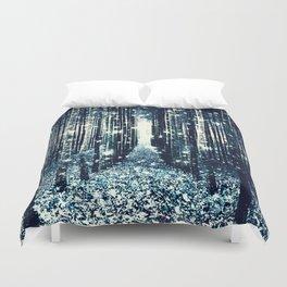 Magical Forest Teal Gray Elegance Duvet Cover
