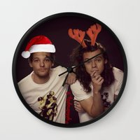 larry stylinson Wall Clocks featuring Funny Larry Stylinson Christmas by girllarriealmighty