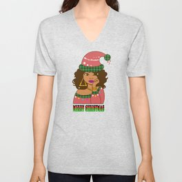 Merry christmas colored girl with santa hat Unisex V-Neck