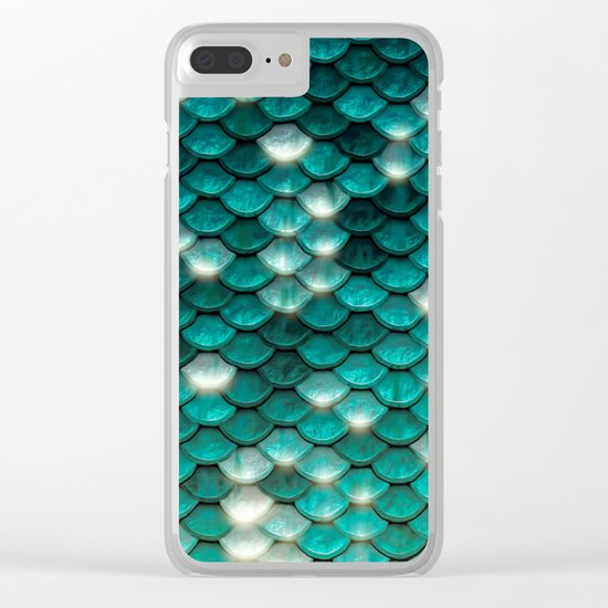 Turquoise sparkling mermaid glitter scales- Mermaidscales on  #Society6 Clear iPhone Case