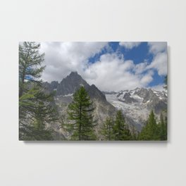 Snowy Mountains Fir tree Forest Alpine Landscape Metal Print