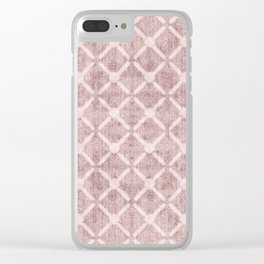 Faux Velvet Dusty Pink and Cream Lattice Pattern Clear iPhone Case