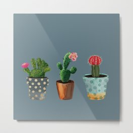 Three Cacti With Flowers On Blue Background Metal Print