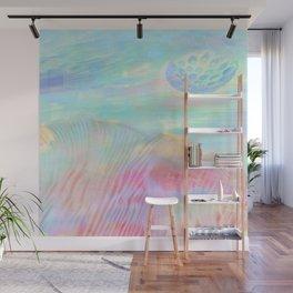 HOPSCOTCH SHRINE, a spaceship flying through a pastel art piece Wall Mural