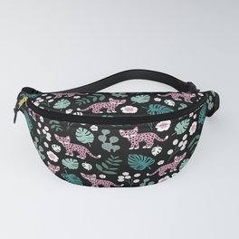 Little Leopard cub jungle forest palm tree pink Fanny Pack
