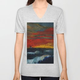 Red Sky Sunset with Sailboat Nautical Landscape Painting by Emil Nolde Unisex V-Neck