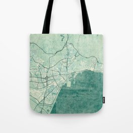 Malaga Map Blue Vintage Tote Bag