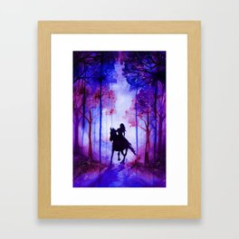 Horse and Rider Purple Edition Framed Art Print