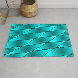 Slanting iridescent lines and rhombuses on light blue with intersection of glare. Rug