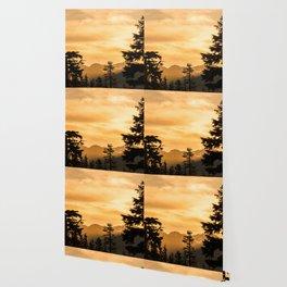 PNW Sunset Orange Mountain Glow - Nature Photography Wallpaper