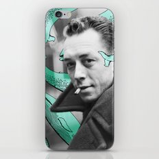 Albert Camus with calm whales iPhone & iPod Skin