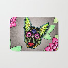 German Shepherd in Black - Day of the Dead Sugar Skull Dog Bath Mat