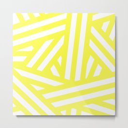 Diagonal yellow and white stripes Metal Print