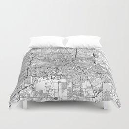Houston White Map Duvet Cover