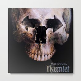 Hamlet by William Shakespeare Theatrical Play Advertising Skull Vintage Poster Metal Print